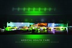 Seringue avec des pilules Photographie stock libre de droits