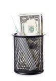 Seringue et argent Photo stock