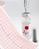 Seringue et fiole sur l'électrocardiographe Images stock