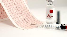 Seringue et fiole sur l'électrocardiographe Photo stock