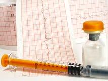 Seringue et fiole sur l'électrocardiographe Image libre de droits