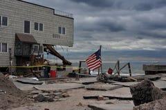 Serio danno nelle costruzioni al cancello di mare, NY Fotografia Stock
