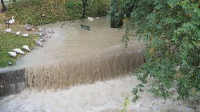 The Serio river swollen after heavy rains. Province of Bergamo, northern Italy royalty free stock photography