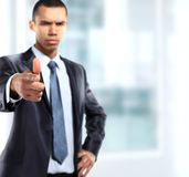 Serios business man showing finger Stock Photos