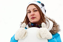 Serios snowboard rider girl Stock Image