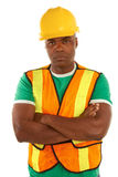 Serious african american construction with arms crossed Royalty Free Stock Image