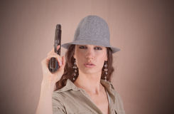 Serious agent girl in retro style Royalty Free Stock Image