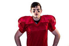 Serious american football player looking at camera Royalty Free Stock Images