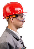 Serious architect in red hardhat Stock Photos