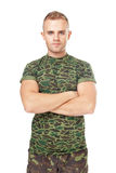 Serious army soldier with his arms crossed Royalty Free Stock Photography