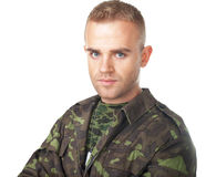 Serious army soldier Royalty Free Stock Images