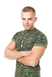Serious army soldier with military ID tags Royalty Free Stock Image