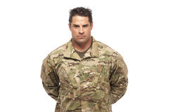 Serious Army Soldier at Parade Rest. Army soldier at parade rest in front of white background Stock Images
