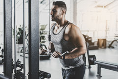 Serious athlete working out with equipment. Side view serene bearded man doing exercise on triceps with pulldown station in fitness center Royalty Free Stock Photos