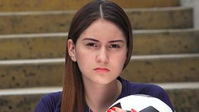 Serious Athletic Teen Female Soccer Player. A pretty young colombian teen girl stock footage