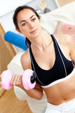 Serious athletic woman holding a dumbbell at home Royalty Free Stock Image