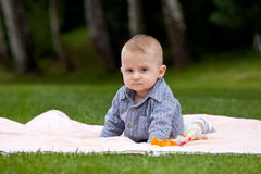 Serious baby boy Stock Photo
