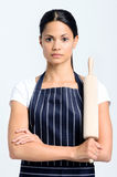 Serious baker holding a rolling pin Stock Photos