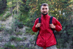 Serious bearded hiker looking at camera Royalty Free Stock Photography