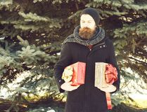 Serious bearded man, handsome hipster, with beard and moustache in black hat, coat and scarf smiles with gift boxes as. Presents on sunny winter day outdoors on stock photo