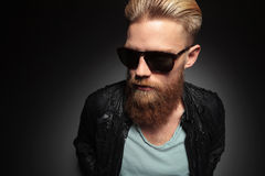 Serious bearded young man Royalty Free Stock Photography