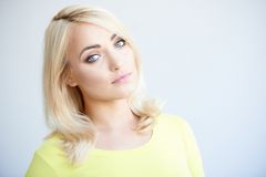 Serious beautiful young blond woman Royalty Free Stock Images