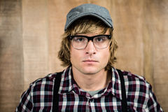 Serious blond hipster staring Royalty Free Stock Image