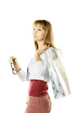 Serious blonde with bag Royalty Free Stock Photos