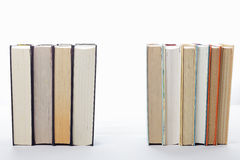 Serious books against fiction in rows. Against light background Royalty Free Stock Photo