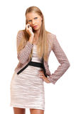 Serious boss with cellphone Royalty Free Stock Photo