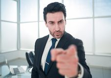 Serious boss pointing at you. The concept of responsibility stock image