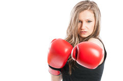 Serious boxer lady Royalty Free Stock Image