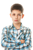 Serious boy in checked shirt Stock Photography