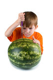 Serious boy cut watermelon Royalty Free Stock Photography