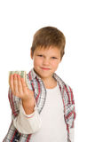 Serious boy with dollar Stock Images