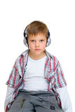 Serious boy in headphones Royalty Free Stock Photo