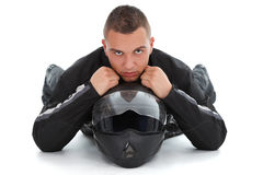 Serious boy with his helmet Stock Photos