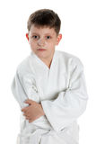 Serious boy in kimono Royalty Free Stock Images