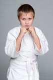 Serious boy in kimono Stock Photo