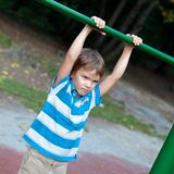 serious Boy playing sports outdoors Royalty Free Stock Image