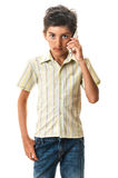 Serious boy with smartphone Stock Photos