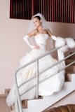 Serious bride on the staircase Stock Images