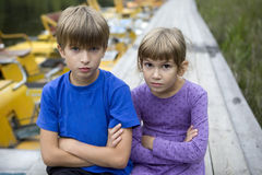 Serious brother and sister Royalty Free Stock Image