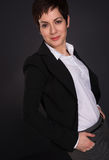 Serious Brunette Woman Draws Attention Business Female Office Royalty Free Stock Photography