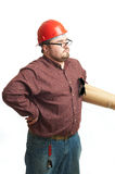 Serious builder in glasses and red hard hat Stock Image