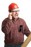 Serious builder in glasses and red hard hat Royalty Free Stock Photo