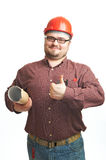 Serious builder in glasses and red hard hat Royalty Free Stock Photos