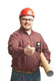 Serious builder in glasses and red hard hat Royalty Free Stock Photography