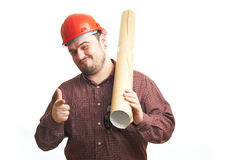 Serious builder in glasses and red hard hat Royalty Free Stock Images