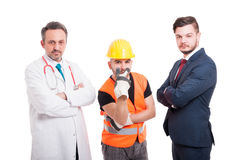 Serious builder is watching you Stock Images
